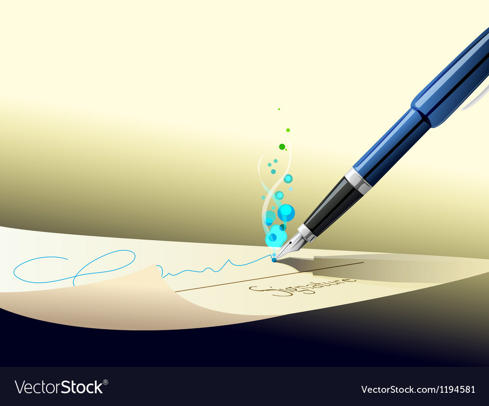 Pen sign contract vector | Price: 1 Credit (USD $1)