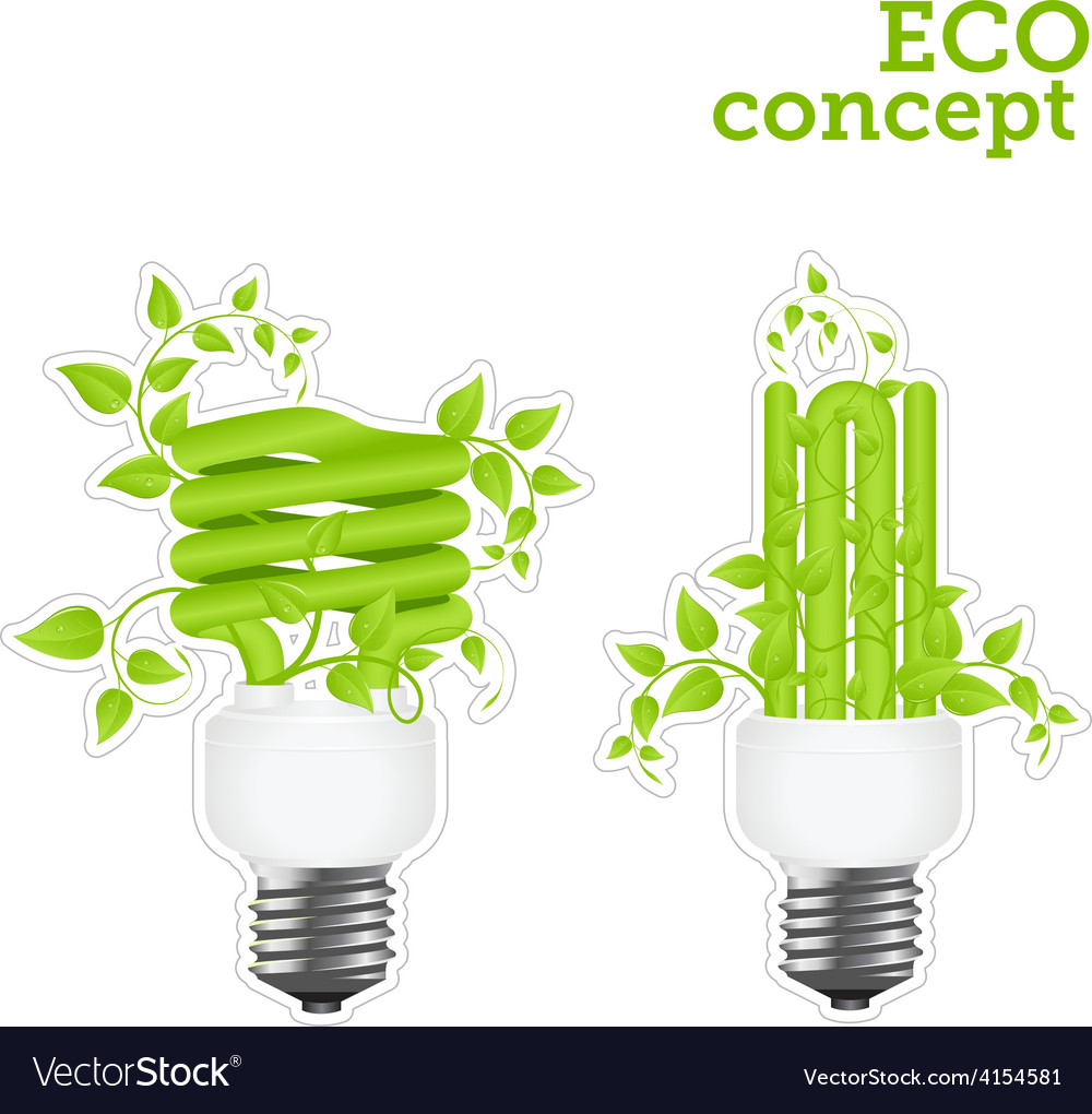 Power saving green two stickers 2001 01 vector