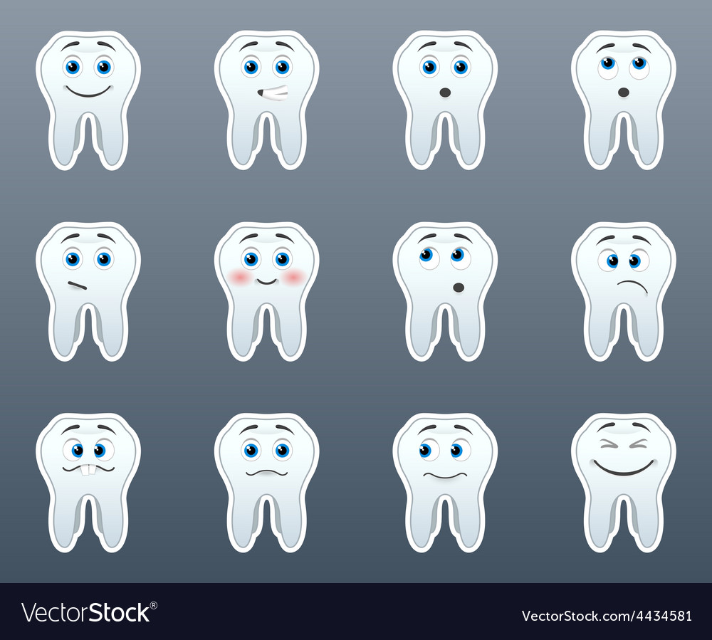 Set of stickers teeth vector | Price: 1 Credit (USD $1)