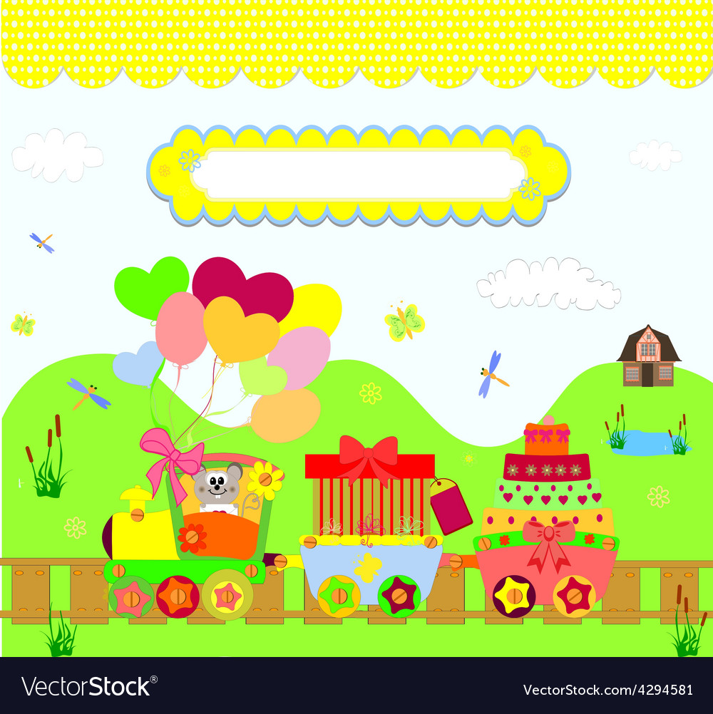 Train party over dotted background vector