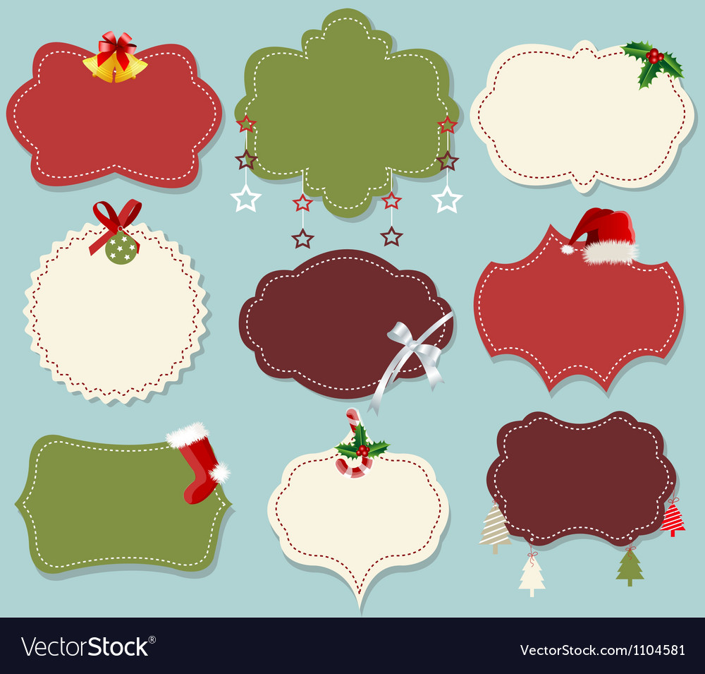 Vintage christmas label banner set vector | Price: 1 Credit (USD $1)
