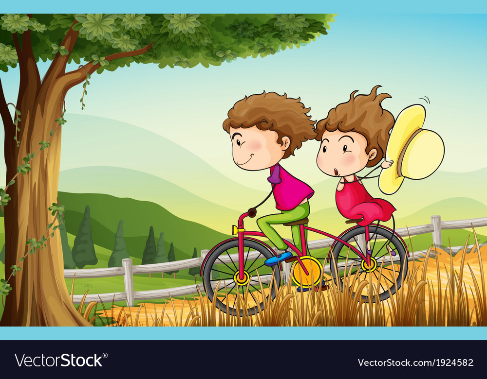 A couple riding on a bicycle vector | Price: 3 Credit (USD $3)