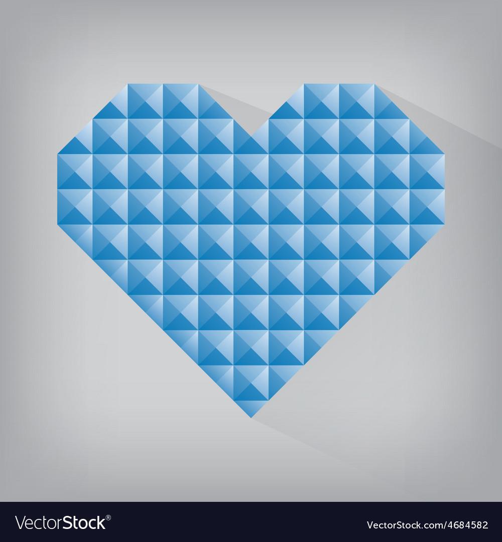 Blue retro heart triangle abstract love valentine vector | Price: 1 Credit (USD $1)