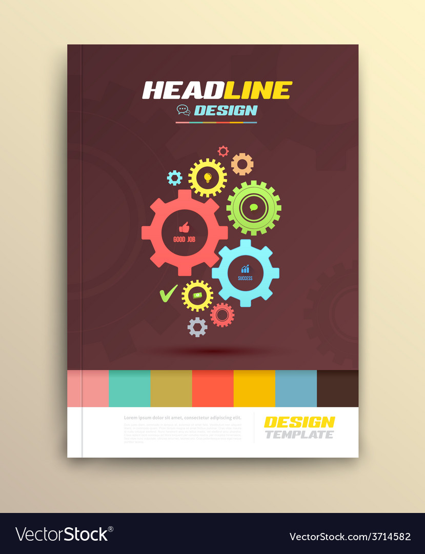 Brochure cover design with cog wheels templates vector | Price: 1 Credit (USD $1)