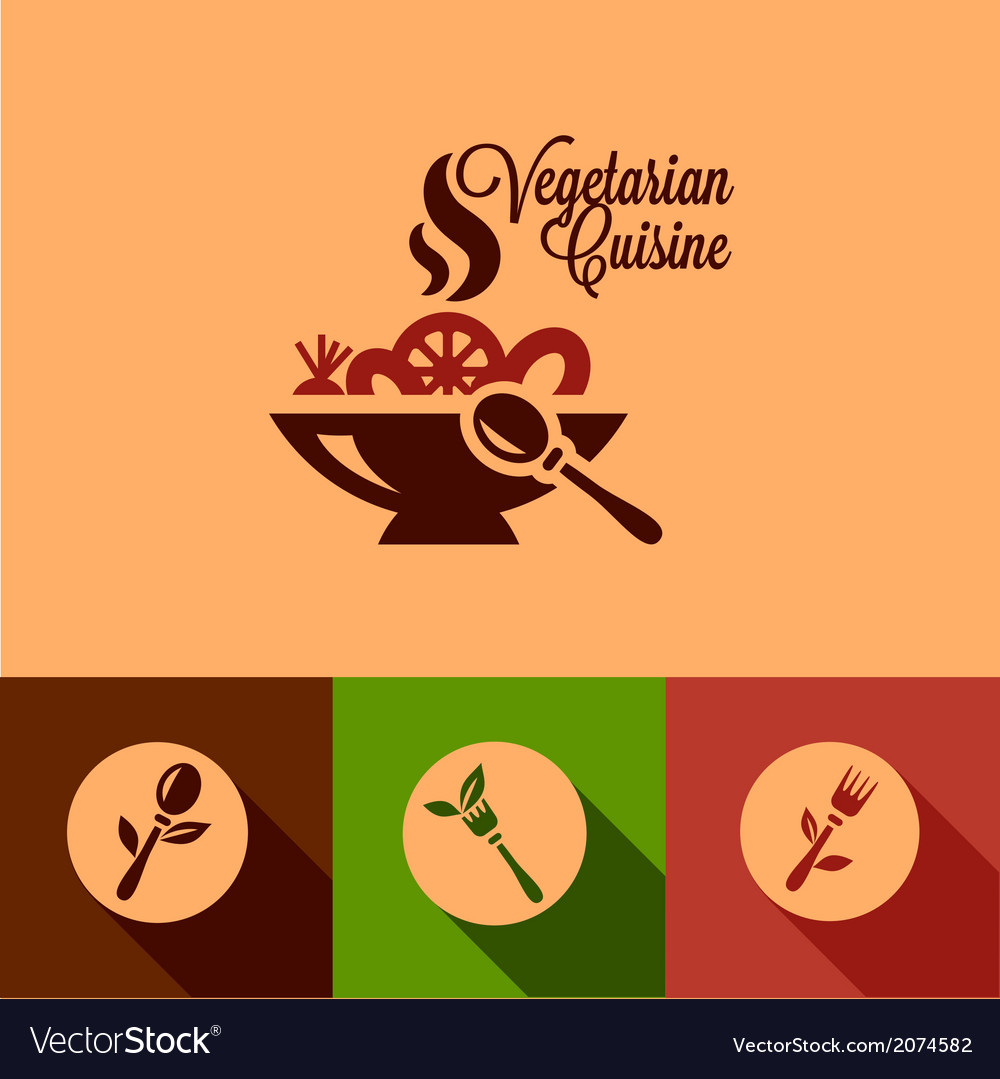 Flat vegetarian cuisine icons set vector | Price: 1 Credit (USD $1)