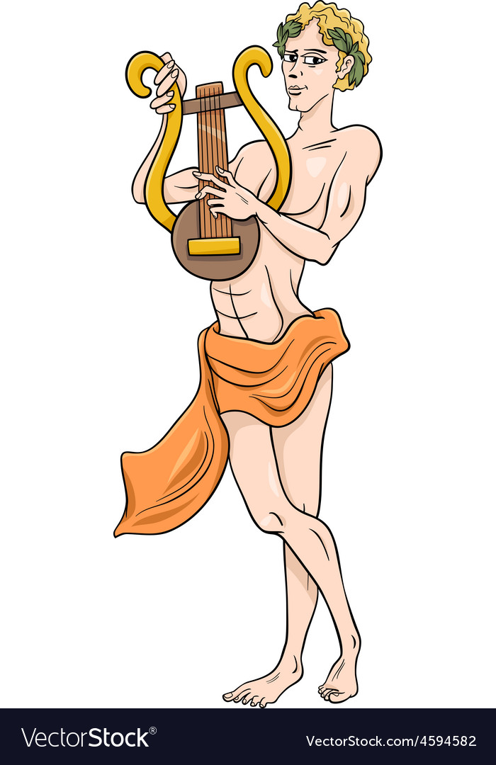 Greek god apollo cartoon vector | Price: 1 Credit (USD $1)