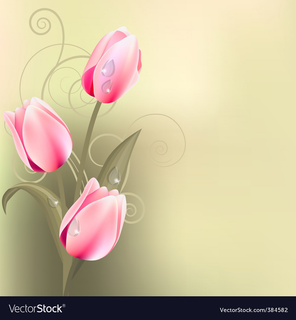 Light green background with tulips vector | Price: 1 Credit (USD $1)