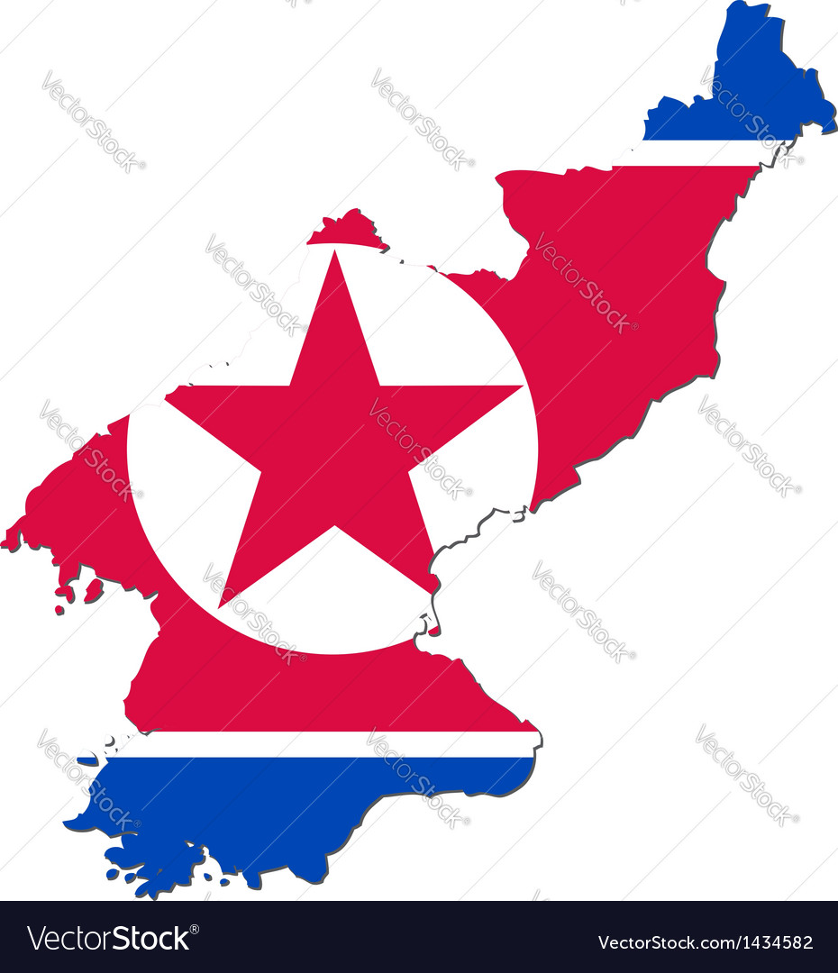 Map of north korea with national flag vector | Price: 1 Credit (USD $1)