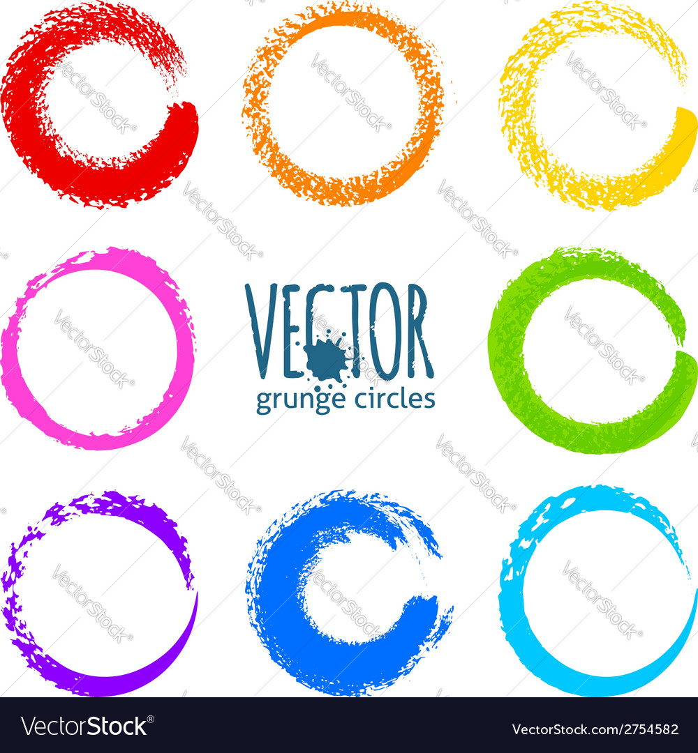 Rainbow colors brush strokes grunge circles vector | Price: 1 Credit (USD $1)