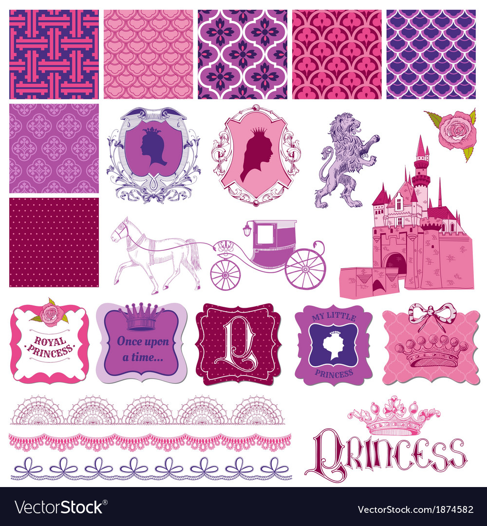 Scrapbook design elements - princess girl birthday vector | Price: 1 Credit (USD $1)