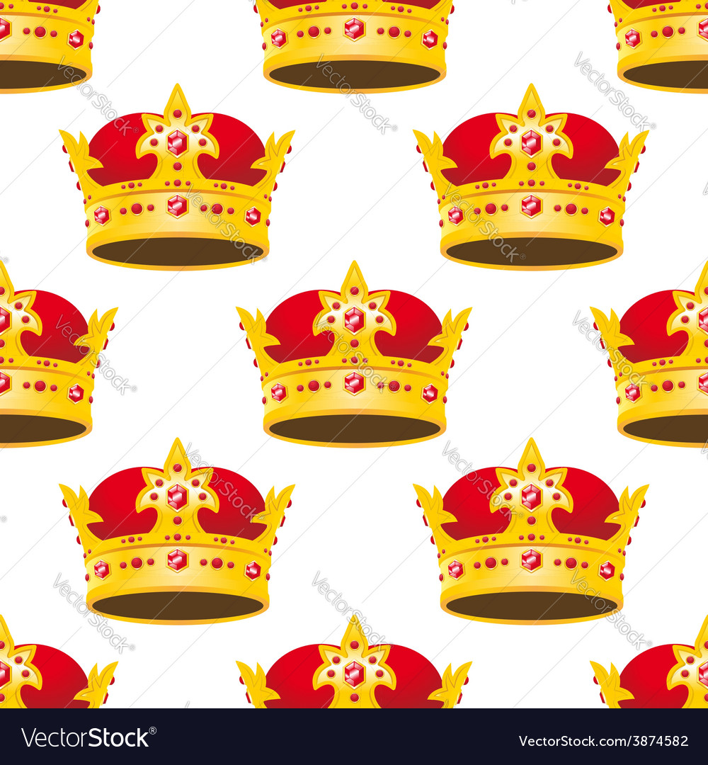 Seamless golden crowns with gems pattern vector | Price: 1 Credit (USD $1)