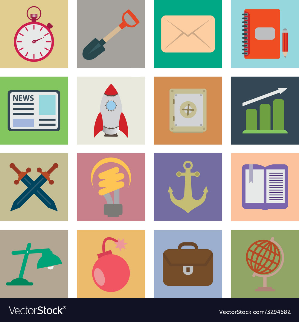 Set flat icons vector   Price: 1 Credit (USD $1)
