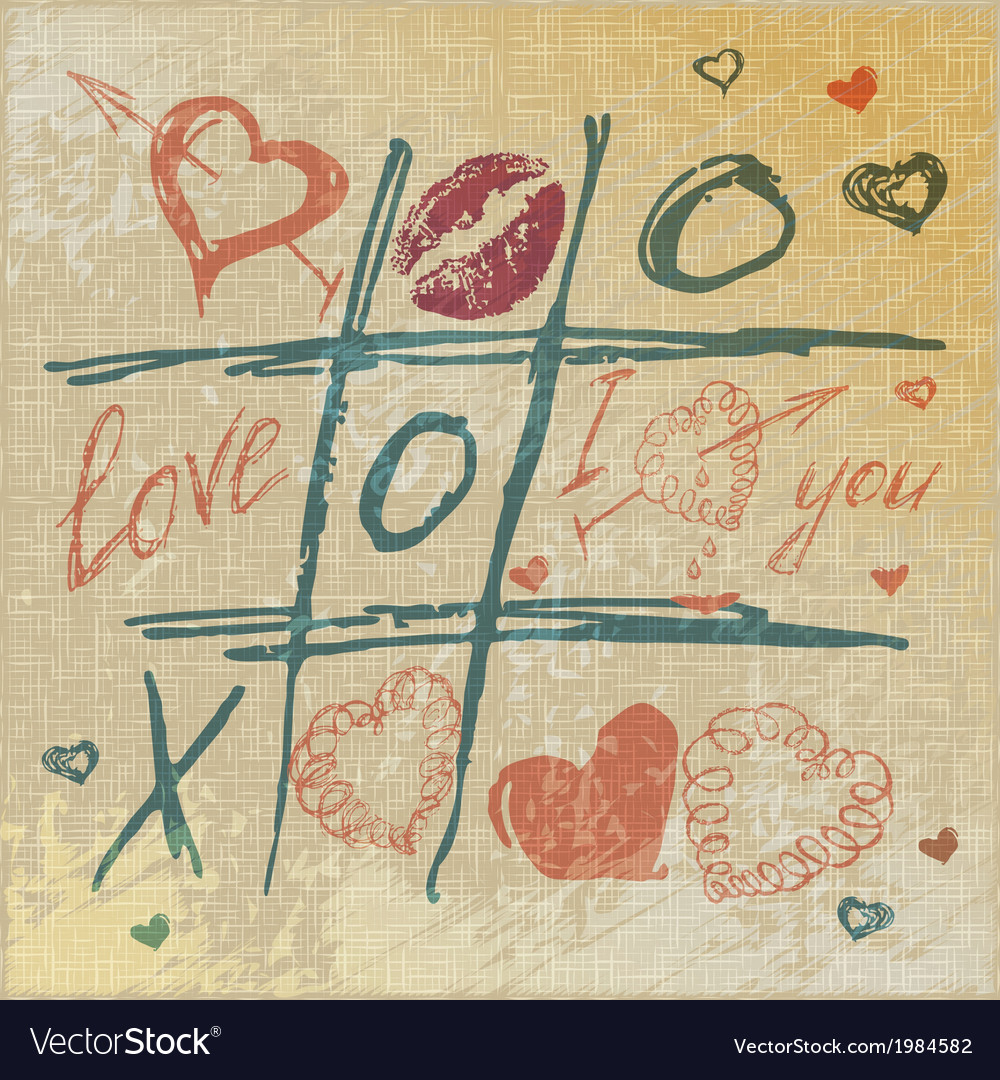 Tic tac toe hearts valentine background the vector | Price: 1 Credit (USD $1)