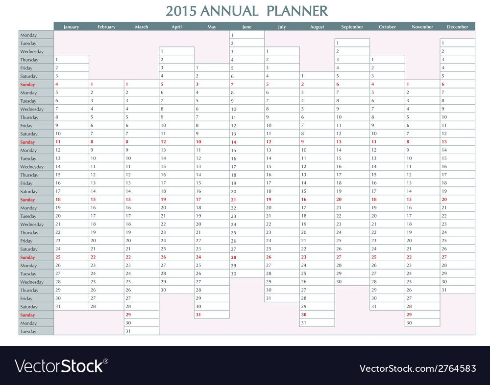 Annual planner english 2015 vector | Price: 1 Credit (USD $1)