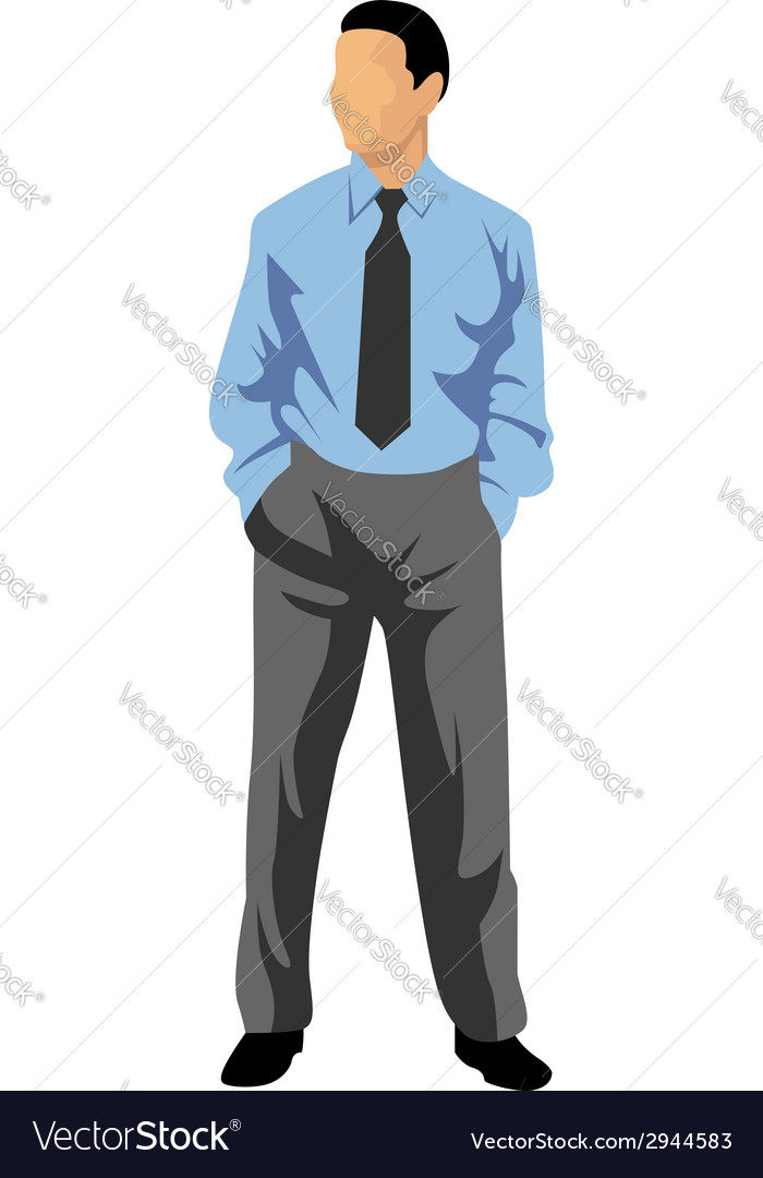 Business man in blue shirt vector | Price: 1 Credit (USD $1)