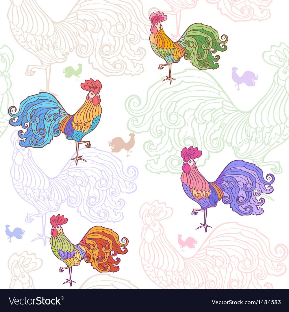 Cockerel pattern vector | Price: 1 Credit (USD $1)