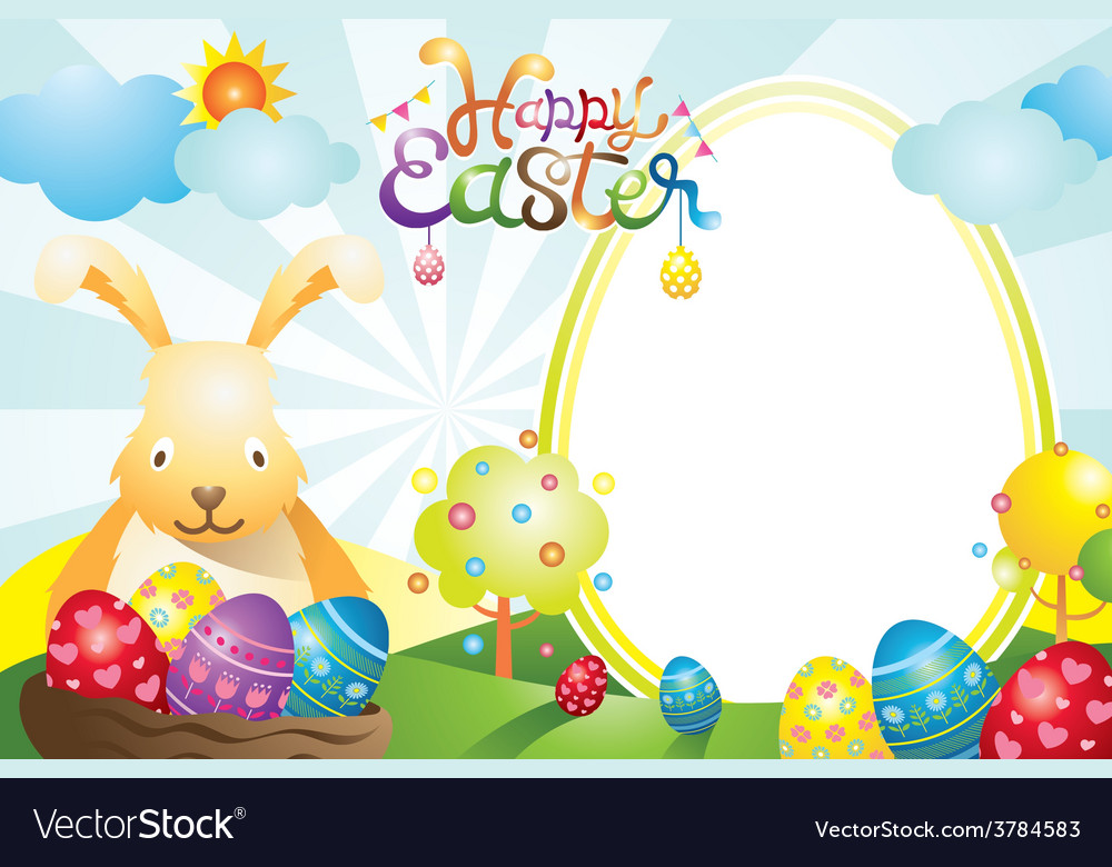 Easter with bunny and eggs frame vector   Price: 3 Credit (USD $3)