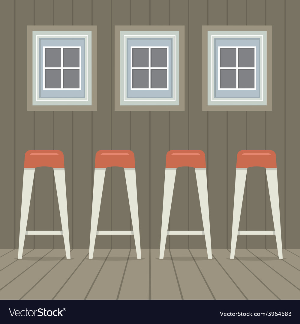 Four stool chairs under three windows vintage vector | Price: 1 Credit (USD $1)