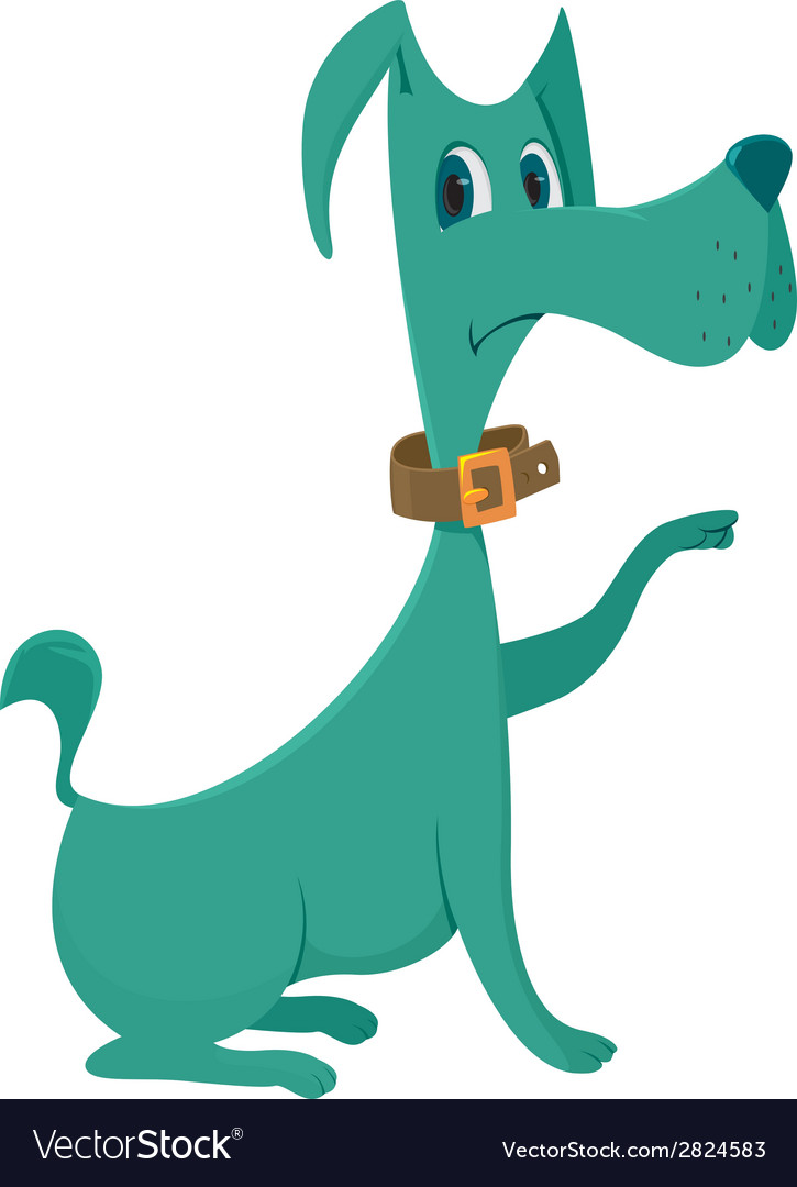 Green dog cartoon vector | Price: 1 Credit (USD $1)