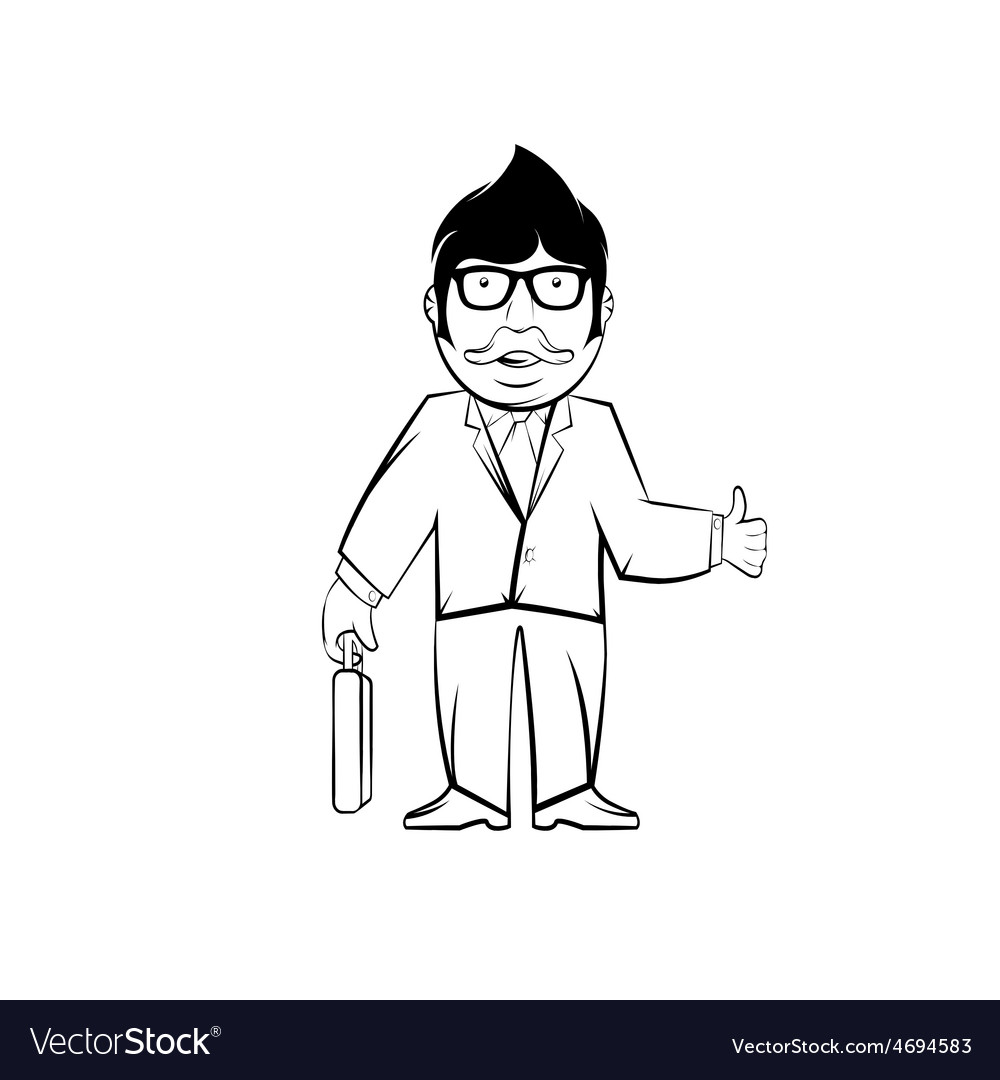 Hipster businessman in glasses with case hipster vector | Price: 1 Credit (USD $1)