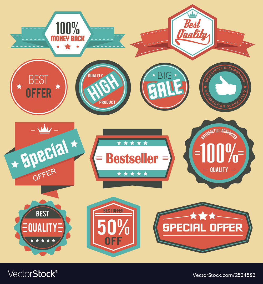 Retro sale badges vector | Price: 1 Credit (USD $1)