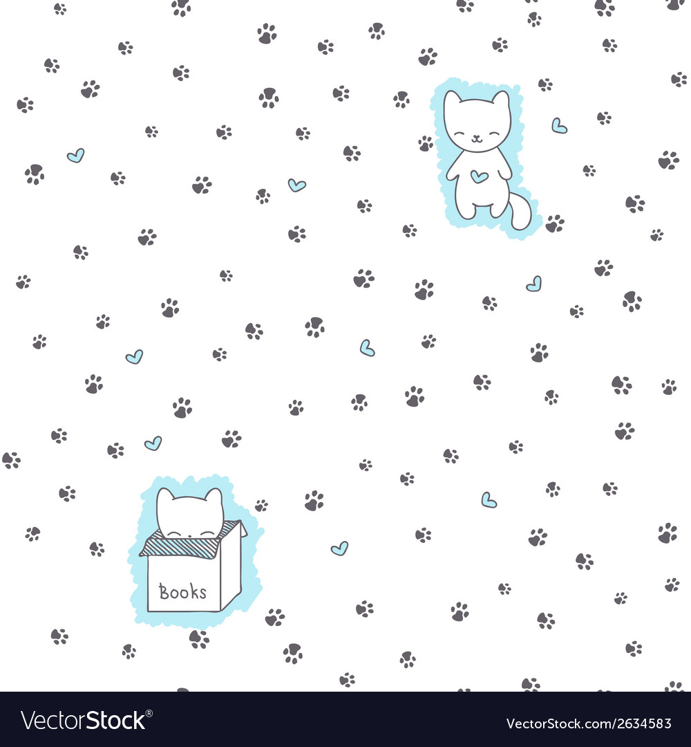 Seamless pattern with cats and footprint vector | Price: 1 Credit (USD $1)