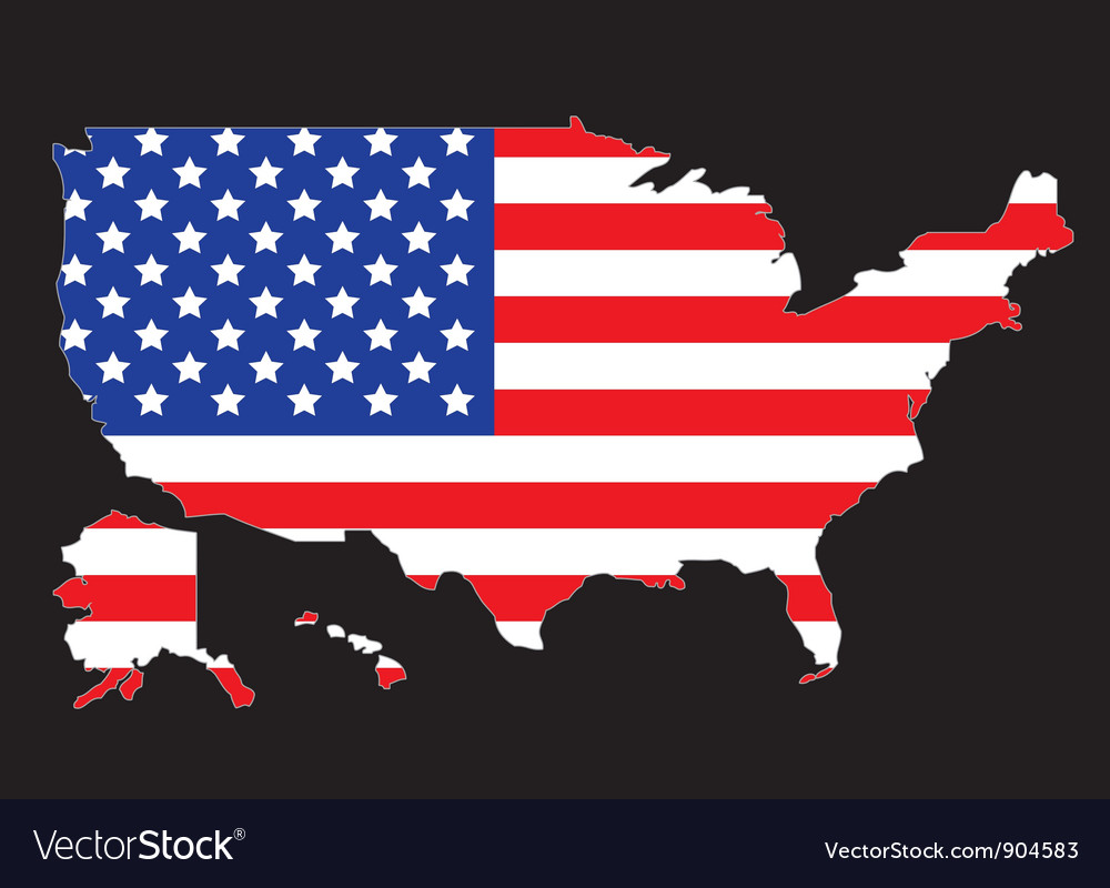 Usa map outline with flag vector | Price: 1 Credit (USD $1)