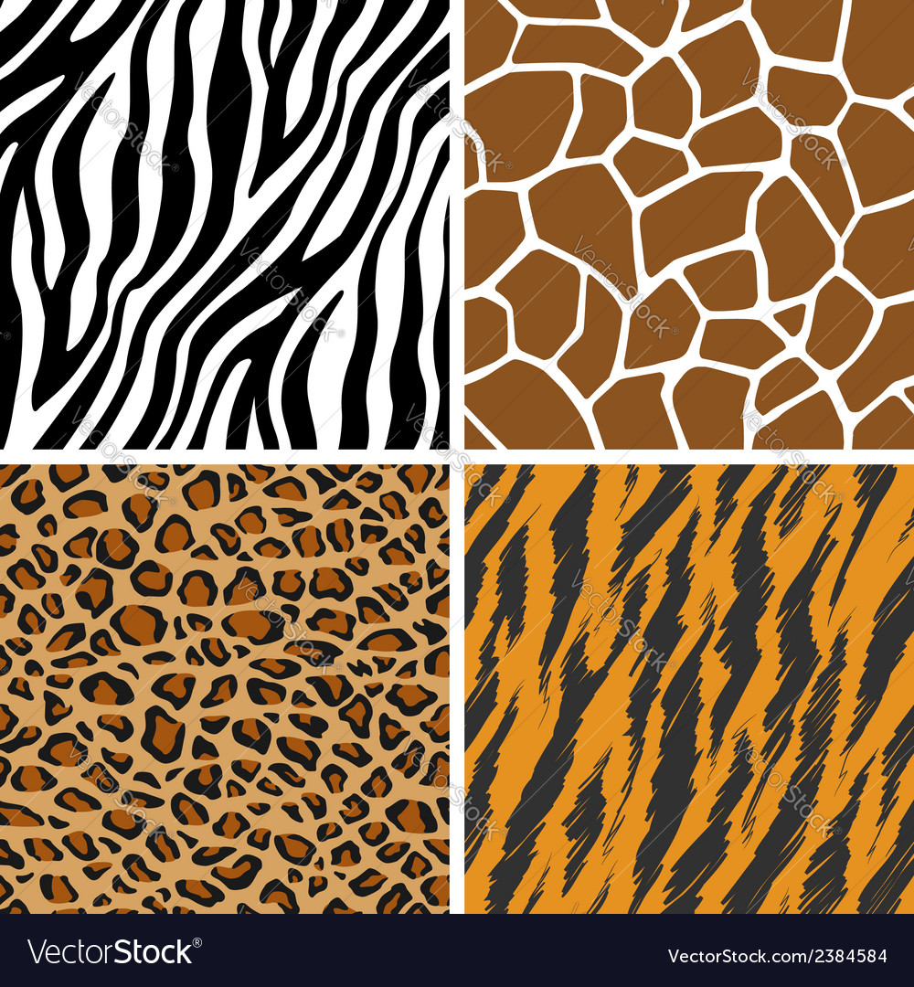 Animal set giraffe leopard tiger zebra seamless vector | Price: 1 Credit (USD $1)