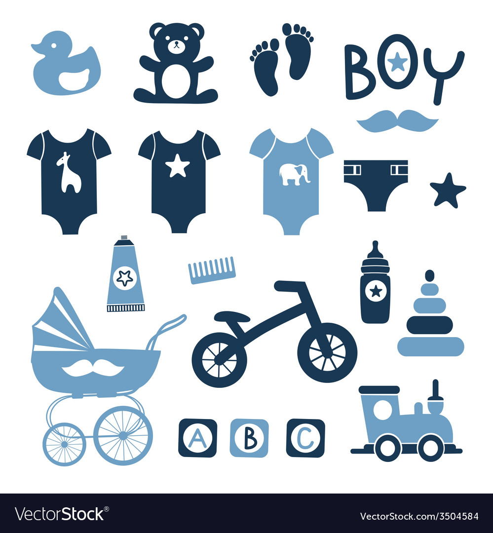 Baby boy icons set vector