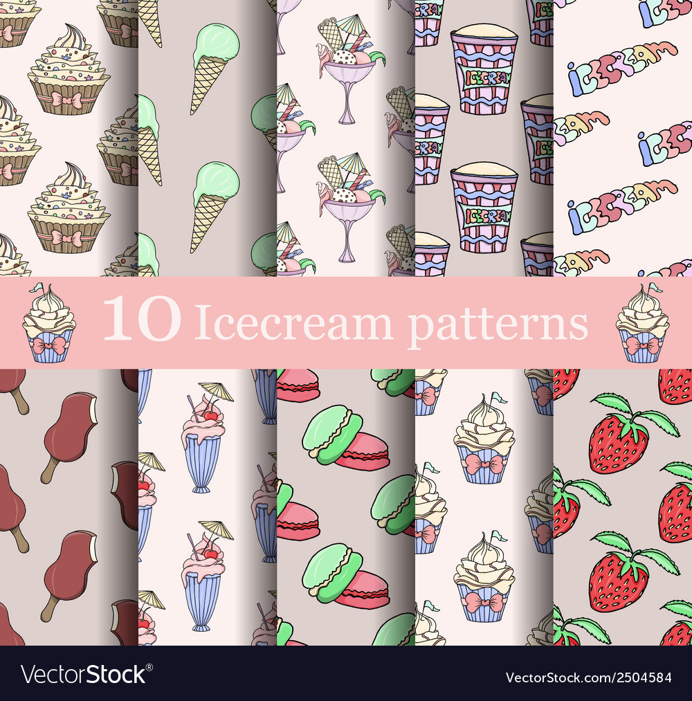 Cake seamless patterns set vector | Price: 1 Credit (USD $1)