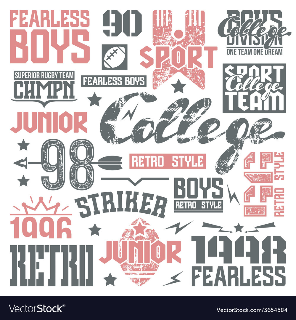 College rugby team design elements vector | Price: 1 Credit (USD $1)