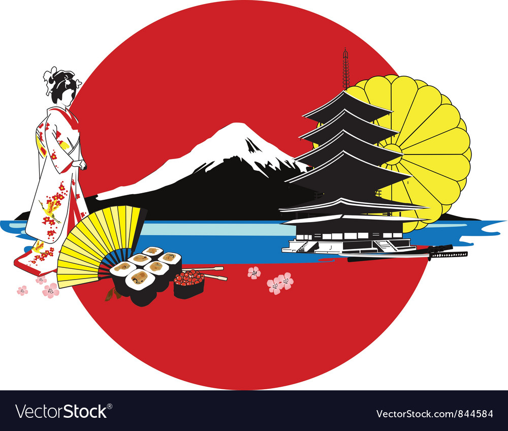 Japan culture background vector | Price: 1 Credit (USD $1)