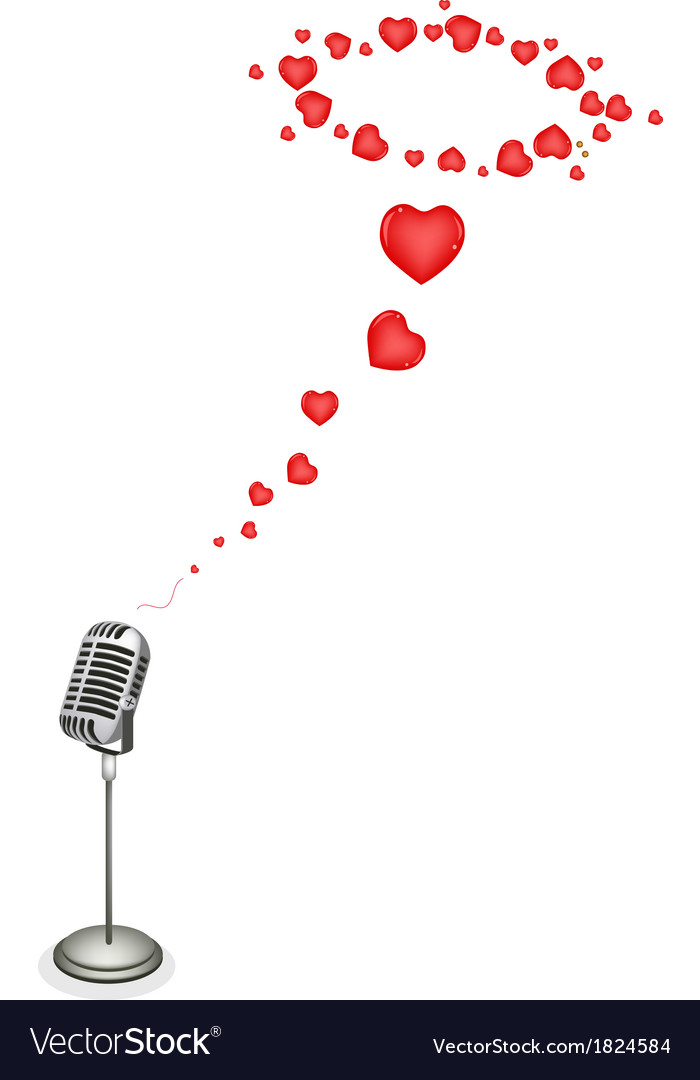 Lovely hearts with retro microphone vector | Price: 1 Credit (USD $1)