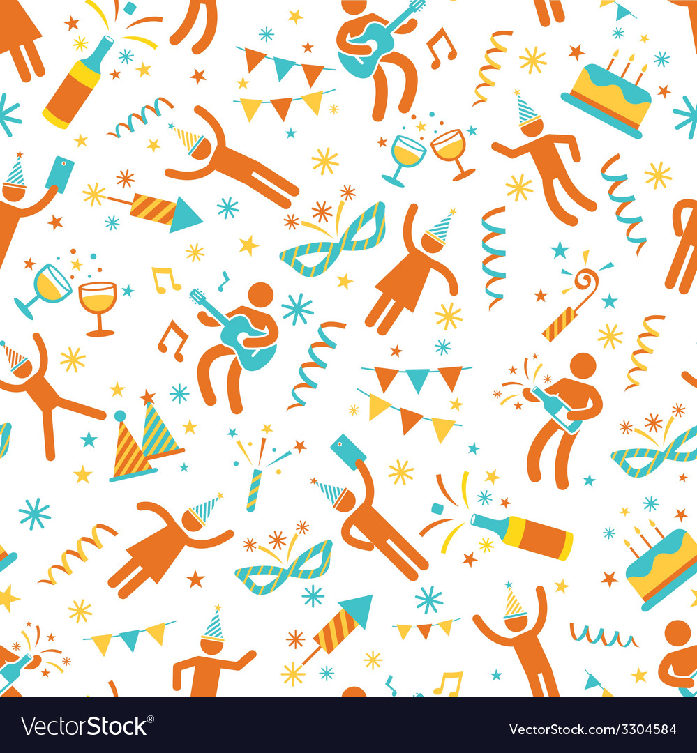 Party people seamless pattern vector | Price: 1 Credit (USD $1)