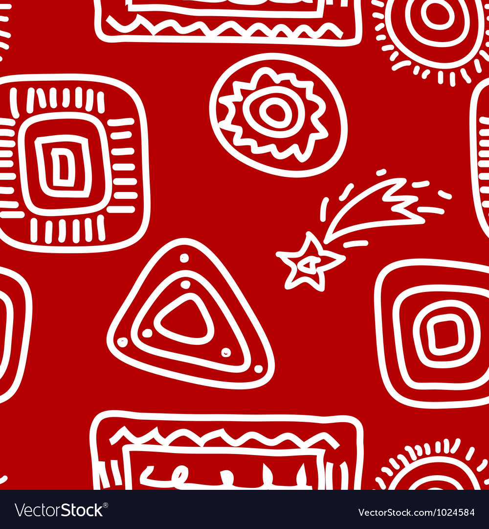 Rock paintings white on red vector | Price: 1 Credit (USD $1)