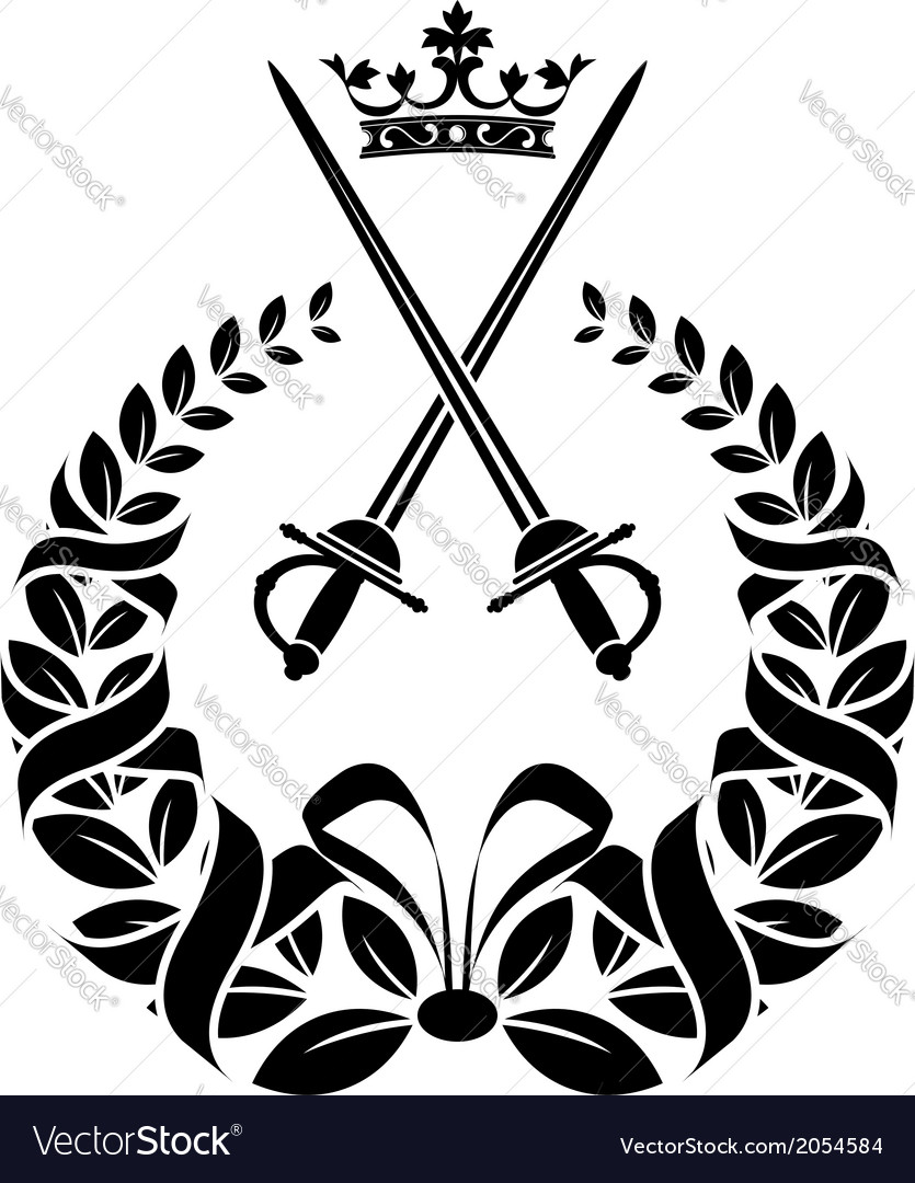 Royal laurel wreath with swords vector | Price: 1 Credit (USD $1)