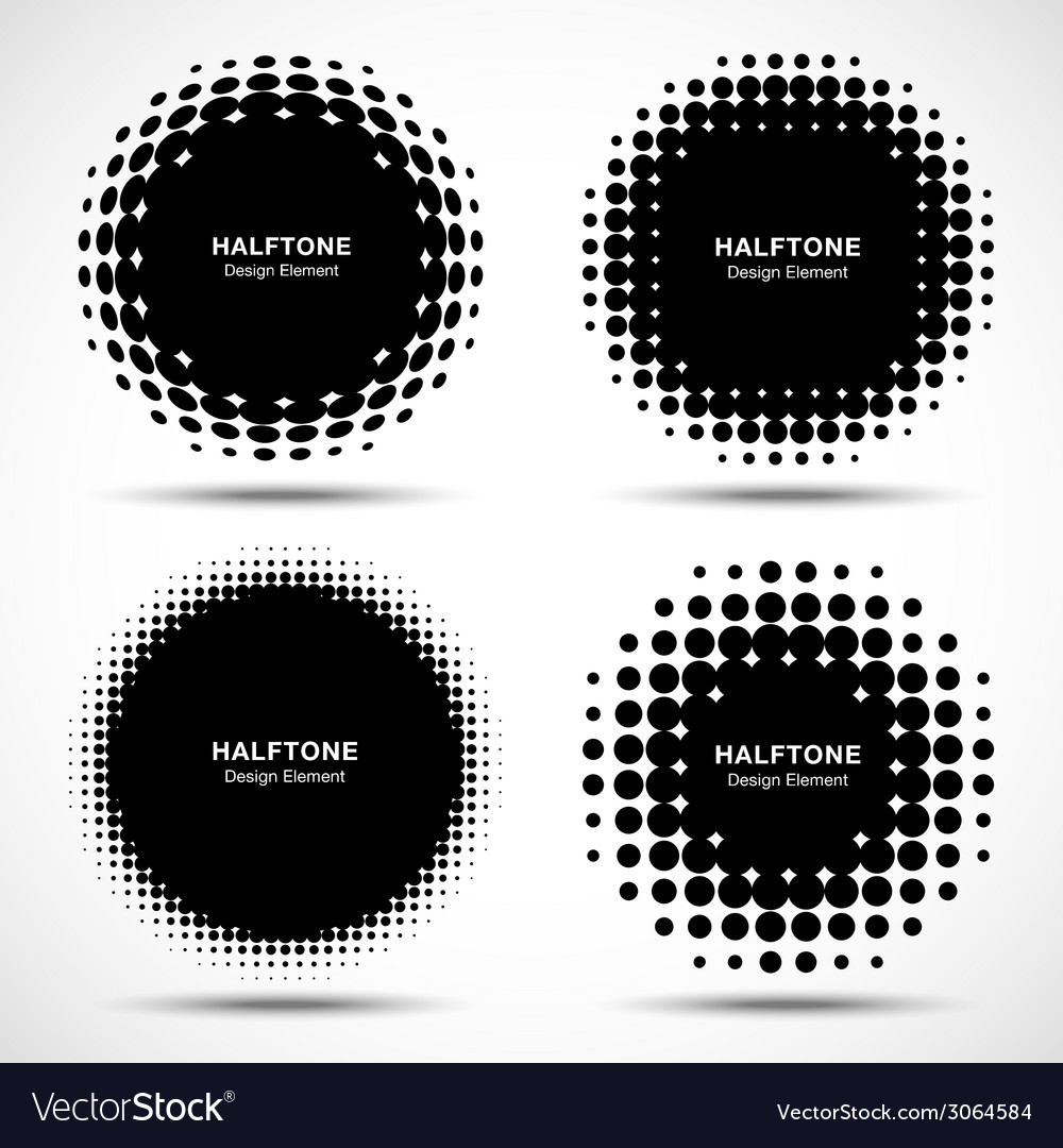 Set of abstract halftone design elements vector | Price: 1 Credit (USD $1)