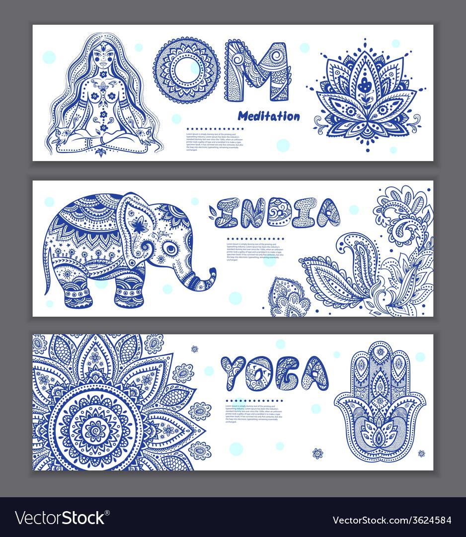 Set of ornamental indian symbols vector | Price: 1 Credit (USD $1)