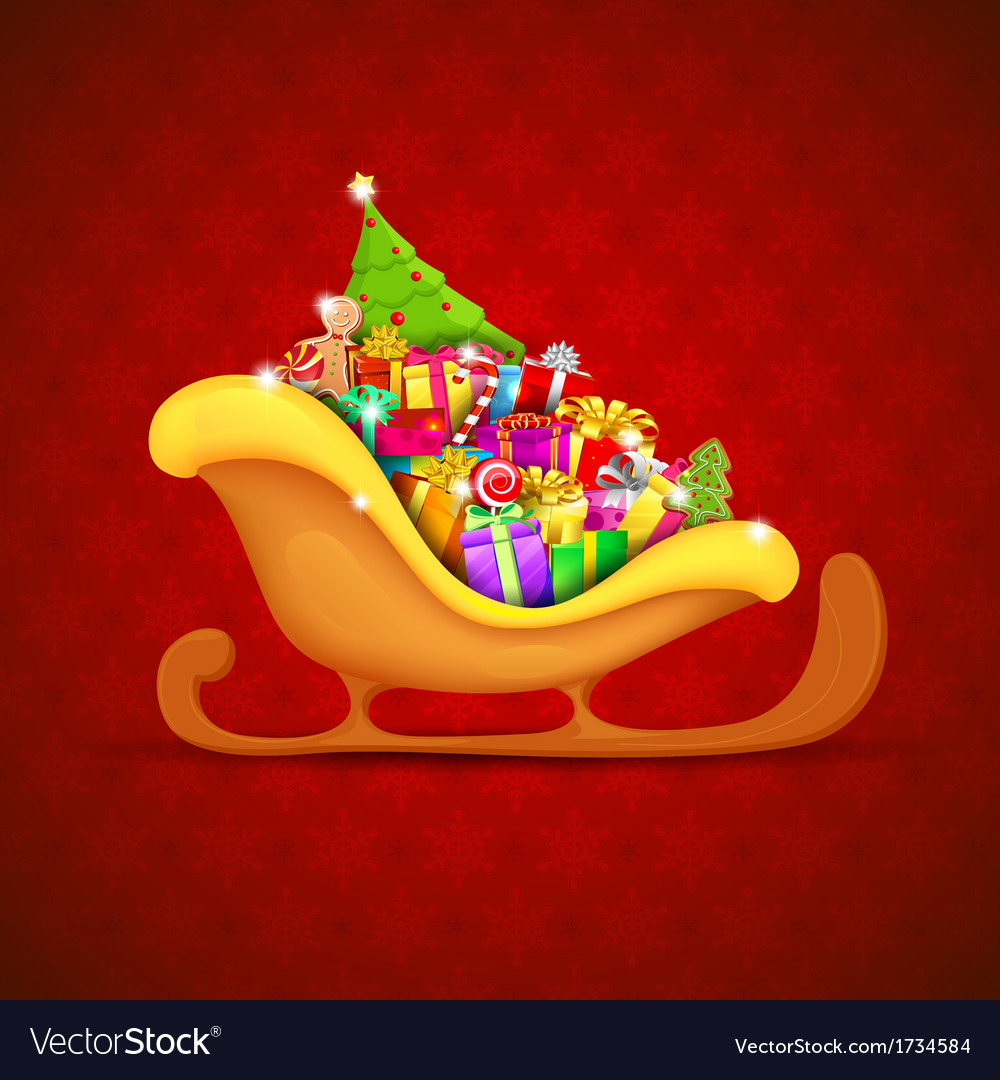 Sledge full of christmas gifts vector | Price: 1 Credit (USD $1)