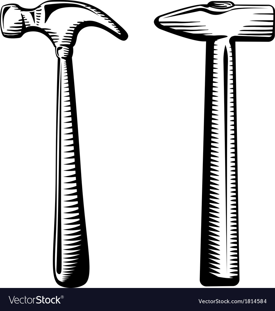 Two isolated hammers vector | Price: 1 Credit (USD $1)