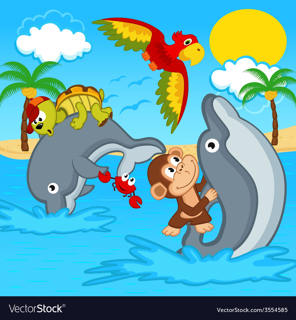 Animals riding on dolphins vector | Price: 1 Credit (USD $1)