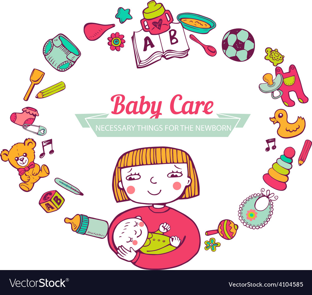 Baby care frame vector | Price: 1 Credit (USD $1)