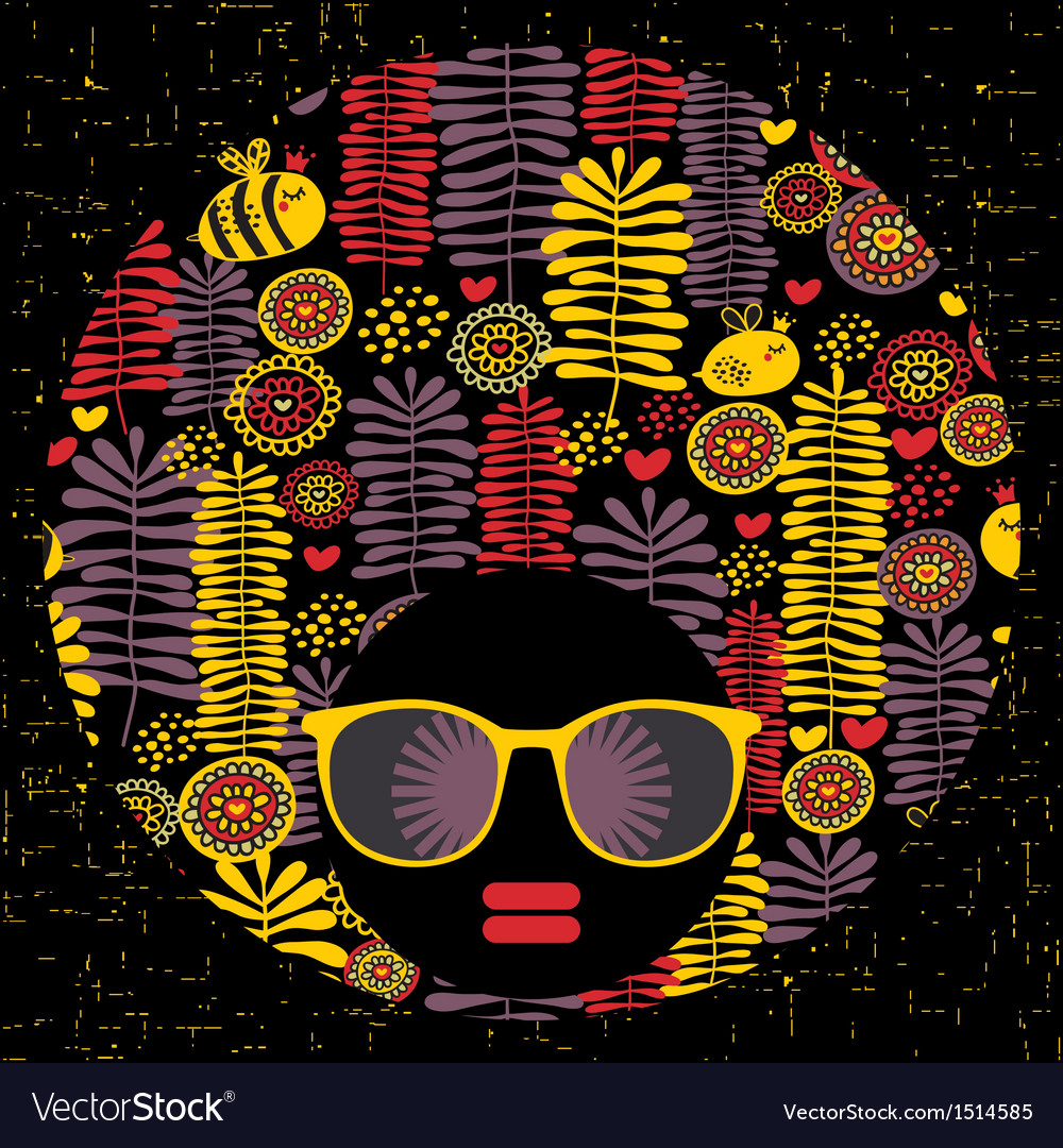 Black head woman with strange pattern hair vector | Price: 1 Credit (USD $1)