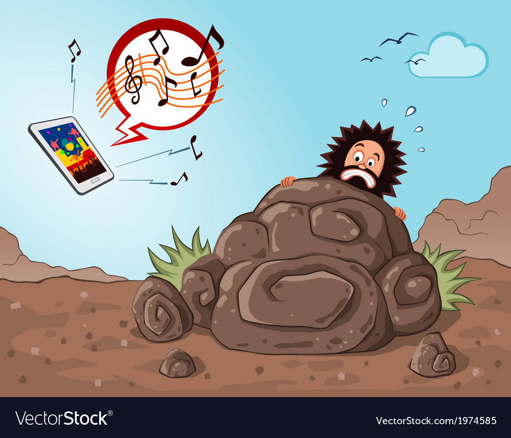 Caveman get scared seeing a gadget vector | Price: 3 Credit (USD $3)