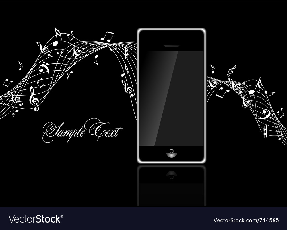 Mobile phone with music notes vector | Price: 1 Credit (USD $1)