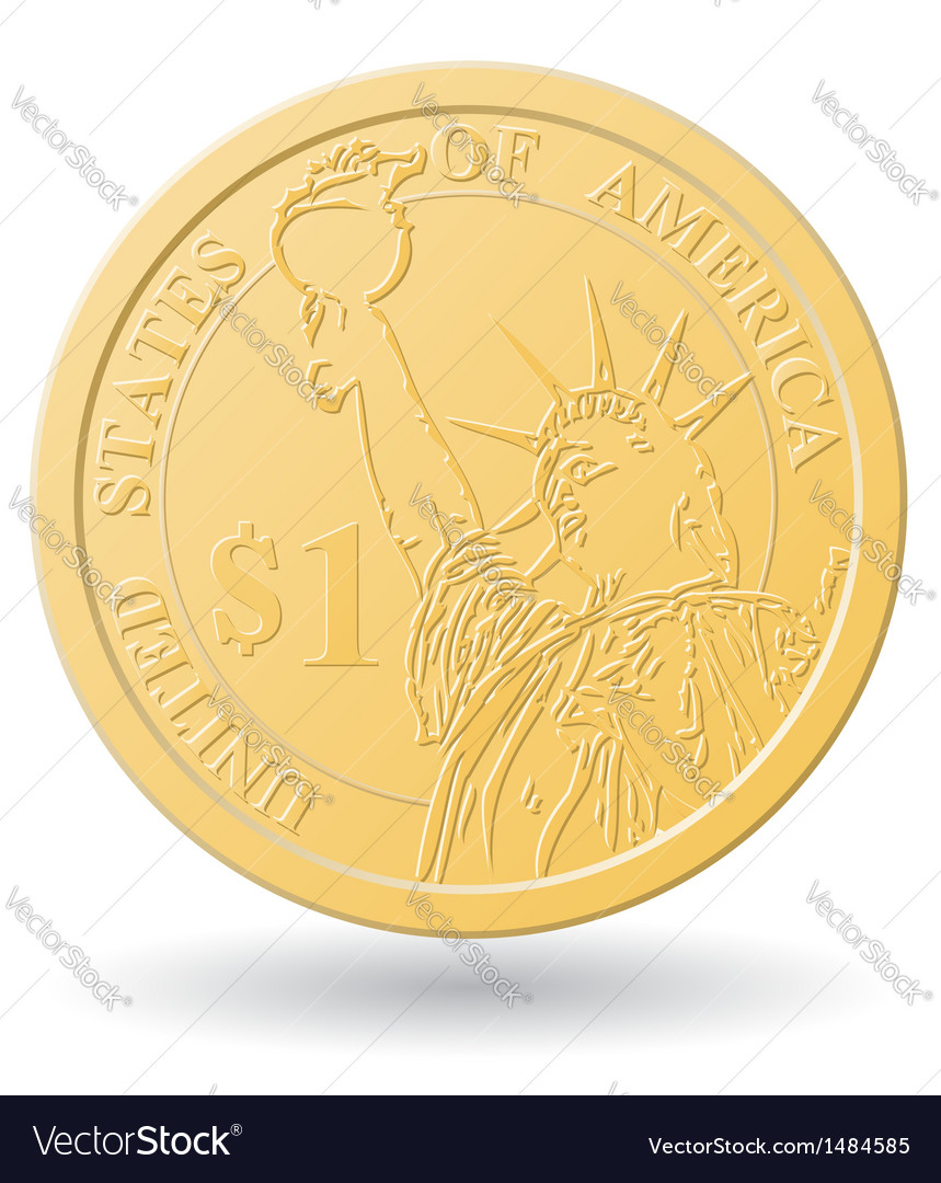 One dollar coin vector | Price: 1 Credit (USD $1)