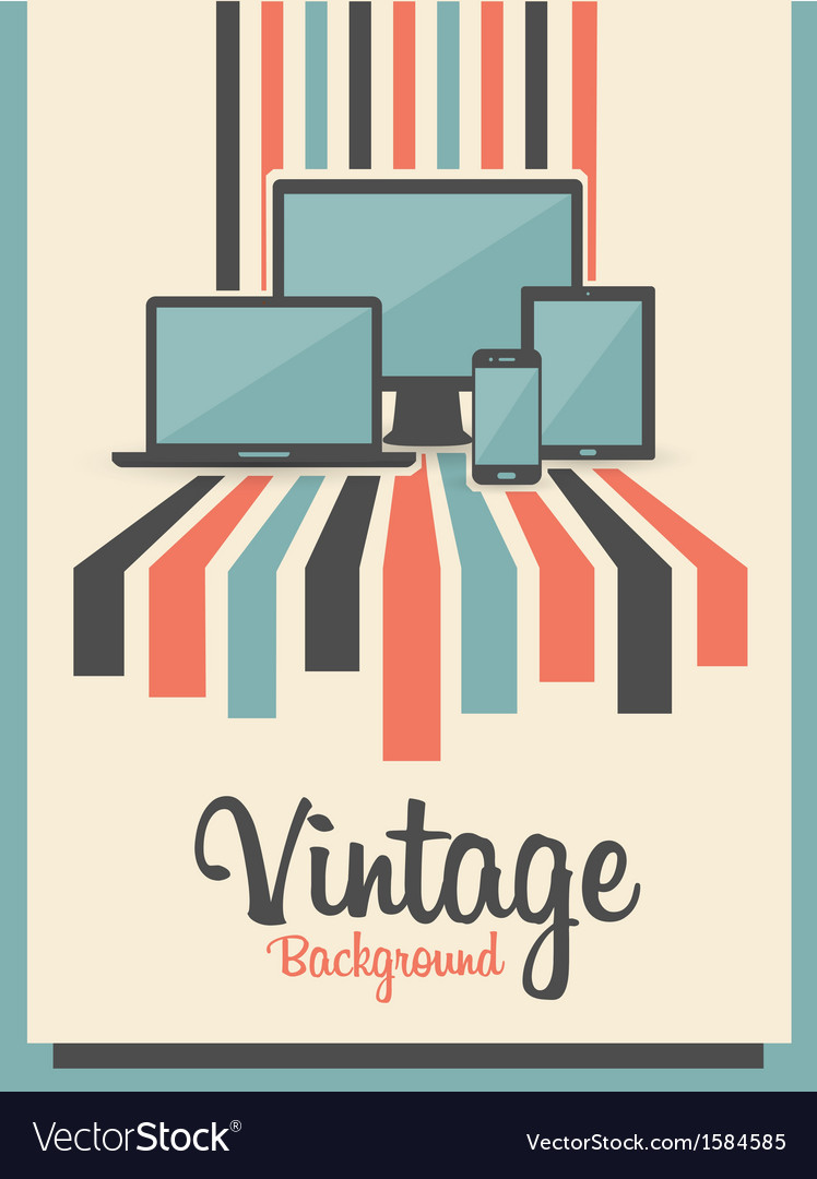 Retro vintage background with electric devices vector | Price: 1 Credit (USD $1)