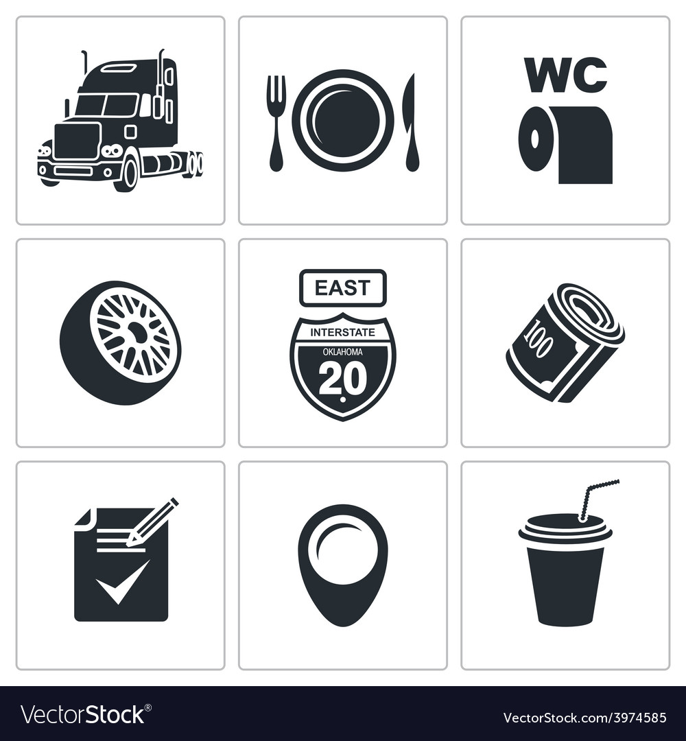 Truck icon set vector | Price: 1 Credit (USD $1)