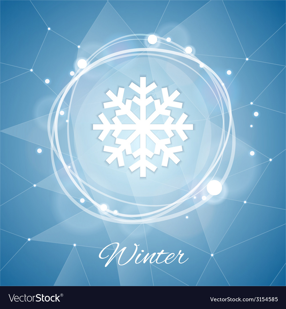 Winter poster with snowflake on geometric vector | Price: 1 Credit (USD $1)