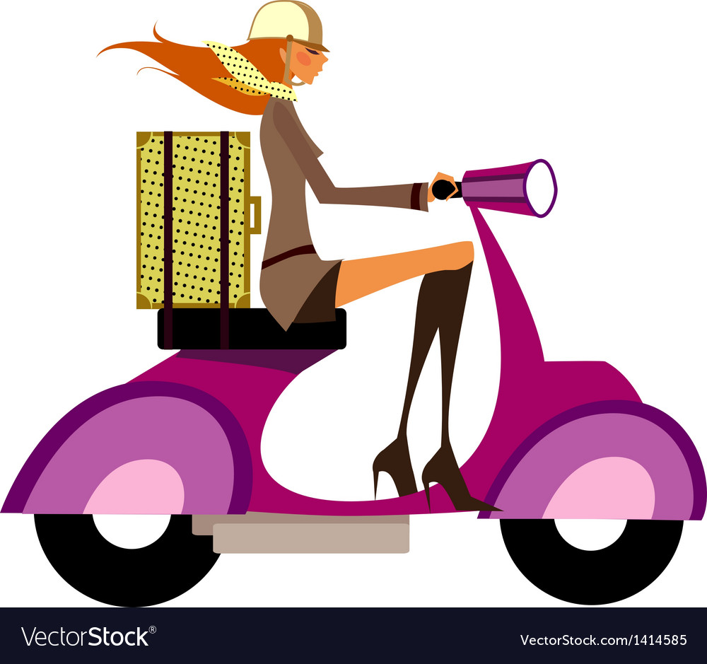 Woman on scooter vector | Price: 1 Credit (USD $1)